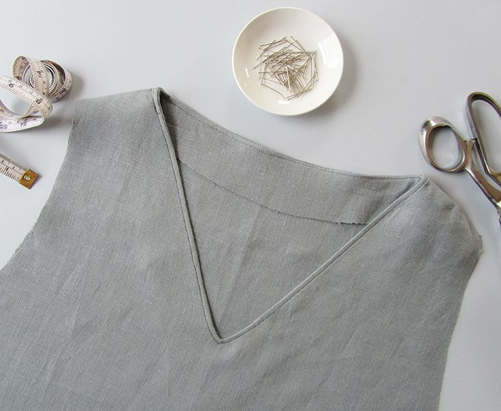 Sewing Glossary: How to Sew a Facing to a V-Neckline Tutorial