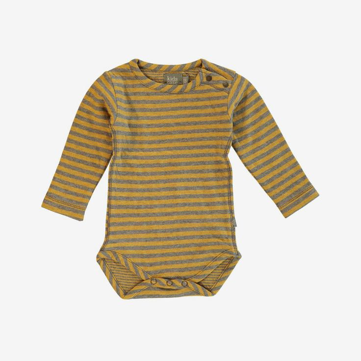 Double-faced organic cotton jersey romper with snap closure at the crotch and at one shoulder. This onesie has a bold stripe. See also Sean Organic Baby Pants. - outer pattern and a pinstripe inside.