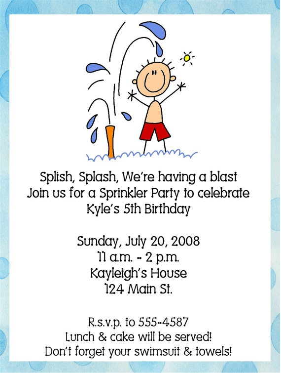 Summer Pool/Sprinkler Birthday Party by ExpressionsPaperie on Etsy, $11.00