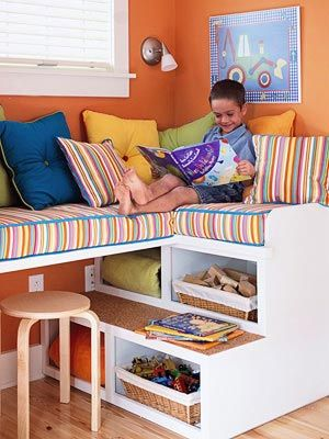 kid's room window seat and storage: