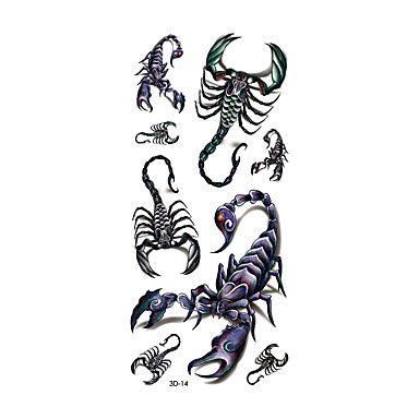1pc Women Men Waterproof Temporary Tattoo Simulation Body Art Scorpion Defiler Halloween 3D-14 5193532 2017 – $0.99