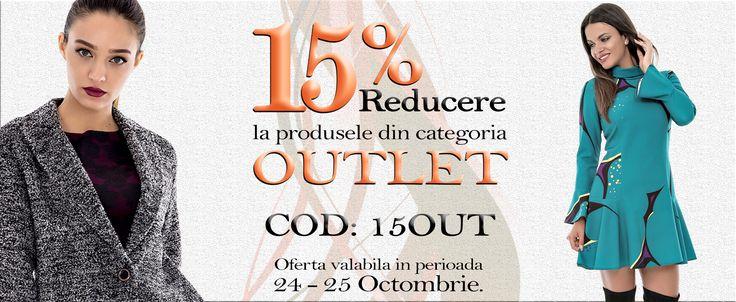Reducere la reduceri, profita acum de 15% discount la categoria Outlet !!! http://rohboutique.ro/outlet/ Pentru mai multe detalii, click aici: http://rohboutique.ro/i/ofertele-roh/107/