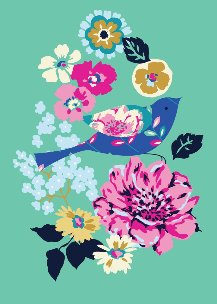 birds blooms floral design illustration print greetings card victoriajohnsondesign.com