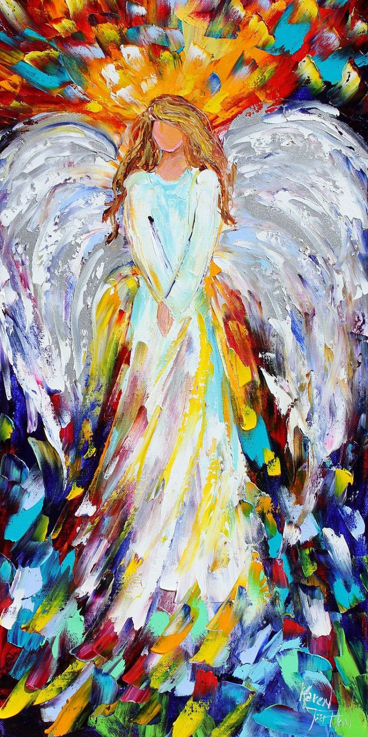 """Angel of Hope and Light 18"""" x 36"""" Gallery Quality Giclee Print on Museum Archival canvas of Original painting by Karen Tarlton fine art. $195.00, via Etsy."""