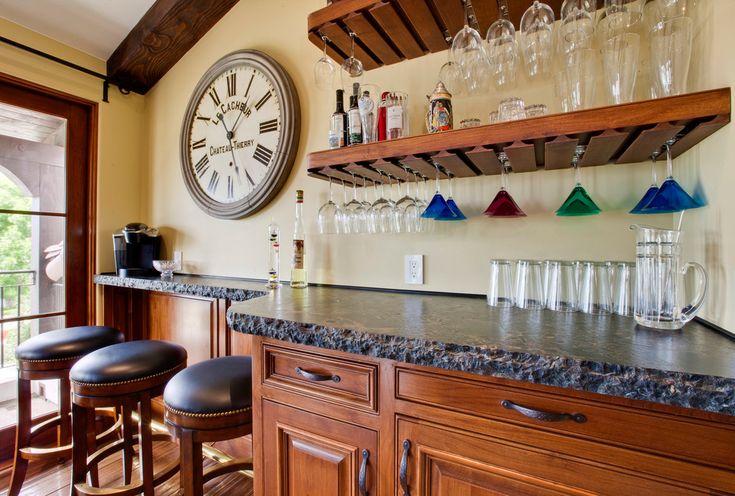 wine glass shelf Home Bar Traditional with bar barware beam clock