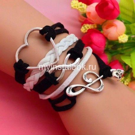 Черный кожаный браслет Сердце