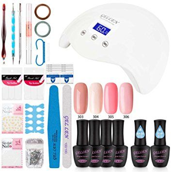 Gellen Gel Nail Polish Starter Kit with 24W LED lamp Base Top Coat, Manicure Tools Popular Nail Art Designs #3 Review