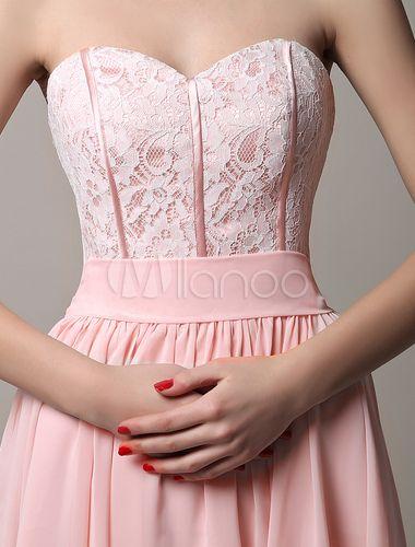 Vestido de damas de honor rosa con escote strapless sin mangas de encaje mini - Milanoo.com