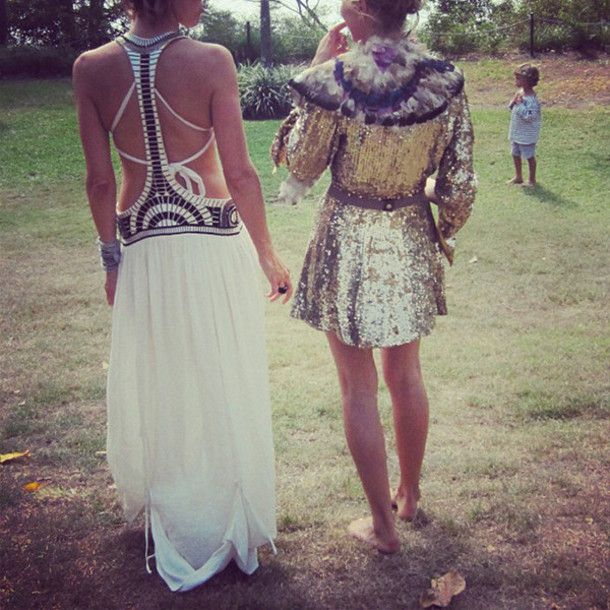 dress, hippie, coachella, festival, lace, sequins, gold, silver, gold sequins, silver sequins, white, long dress, maxi dress, skirt    this dress on the left would be super easy to diy with a tee shirt, a long skirt, and some embellishments.  The sequin coat would be literally the worst festival outfit ever.