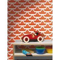 Prachtig retro vliesbehang rode bootjes - Lavmi