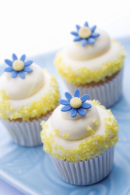 Cupcake en jaune et bleu
