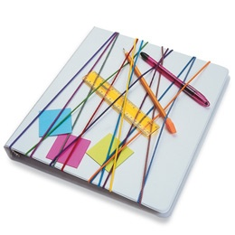 """""""Crisscross a dozen or so thin, braided-elastic headbands around the front cover of a three-ring binder, and your child can tuck writing utensils and reminder notes under them, as shown."""""""