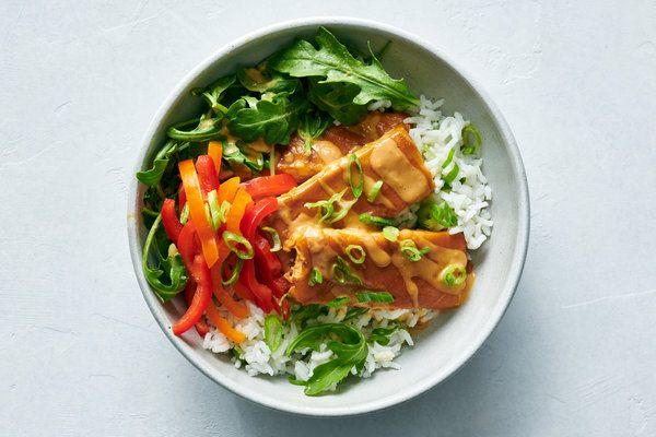 Baked Tofu With Peanut Sauce Coconut Lime Rice Yewande Komolafe Nyt In 2020 Best Tofu Recipes Coconut Lime Rice Tofu Recipes