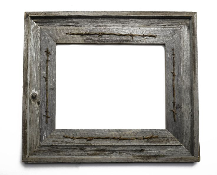 5x7 Rustic Barnwood Picture Frame with Rusty Barbed Wire