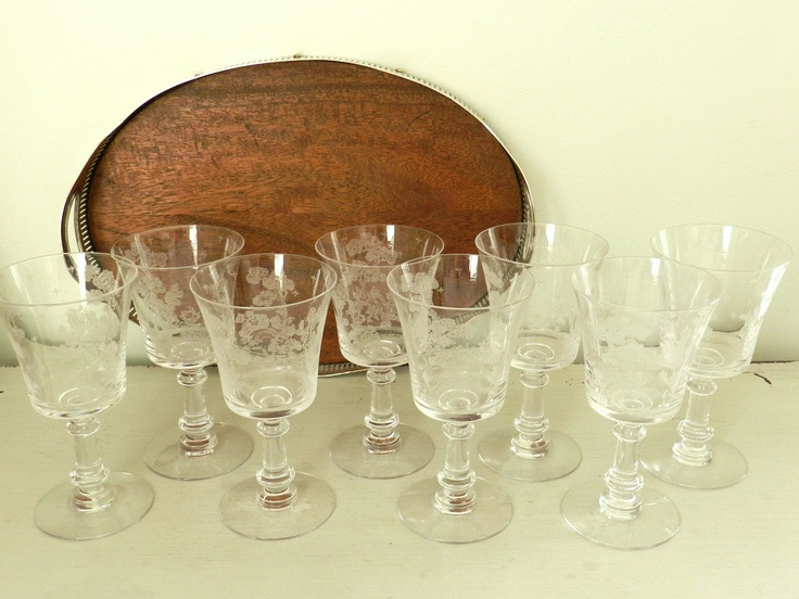 Vintage Wine Glasses Water Goblets Etched Chinoiserie Asian Design Set of Eight. $88.00, via Etsy.