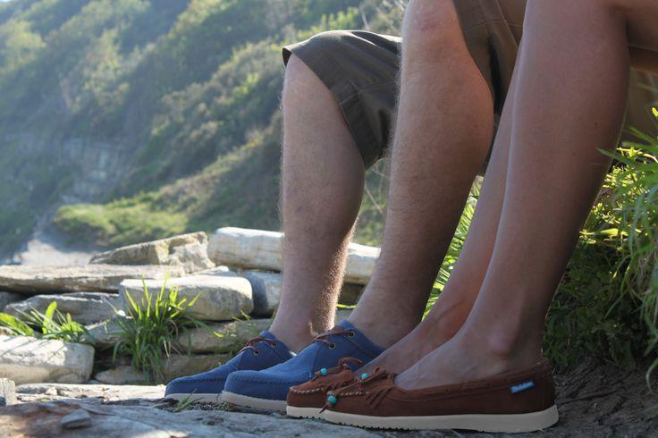 Ladies Lilly Caramel Shoes & Men's Moc Mid Blue Shoes