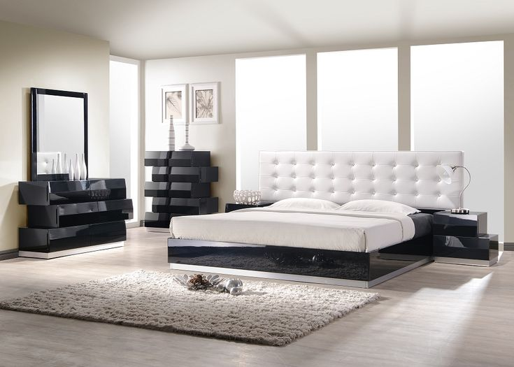 milan bedroom set in two tone black and white glossy finish with white leather upholstered headboard by ju0026m furniture buy this exotic modern milan black