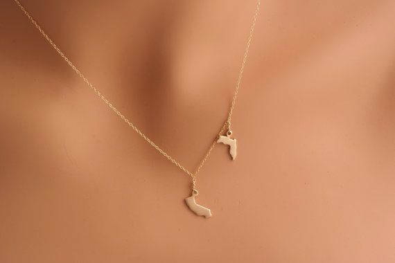 Two State Necklace California New York Florida Gold Vermeil New Jersey Wisconsin Connecticut dainty jewelry on Etsy, $45.00