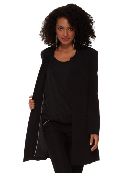 This long-sleeve coat is above knee length and has two front pockets and no lapel.