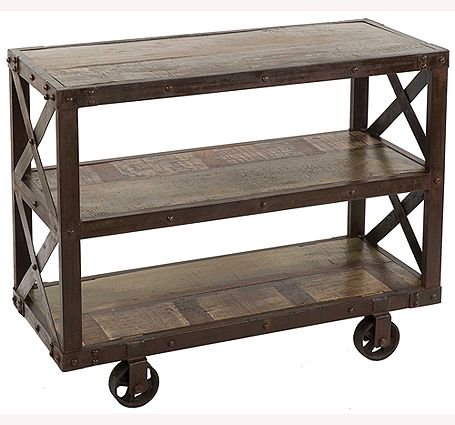 Avila Industrial Reclaimed Wood and Metal TV Stand – Small
