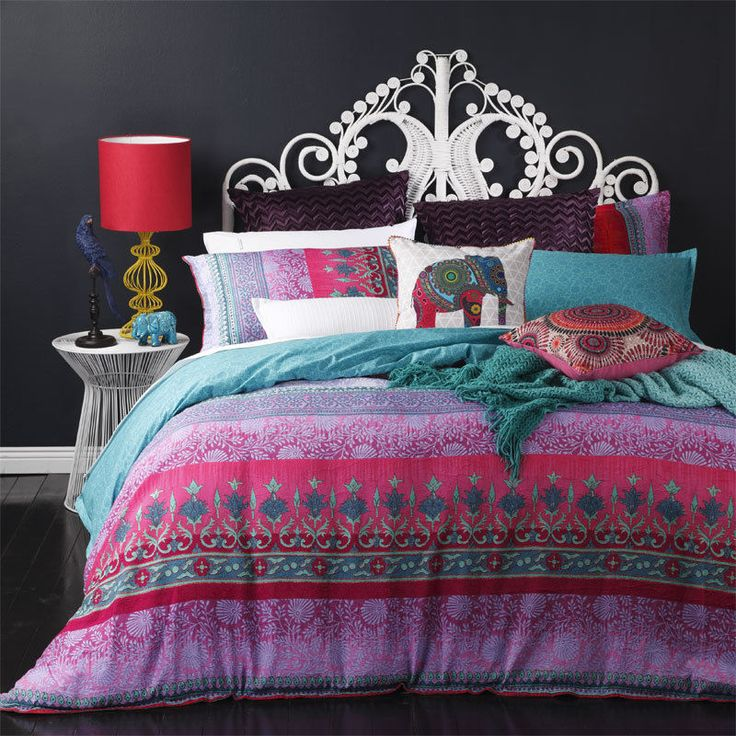 King Bed Doona Quilt Cover Set SARI MAGENTA Boho Chic Platinum Logan and Mason in Home & Garden, Bedding, Quilt Covers | eBay