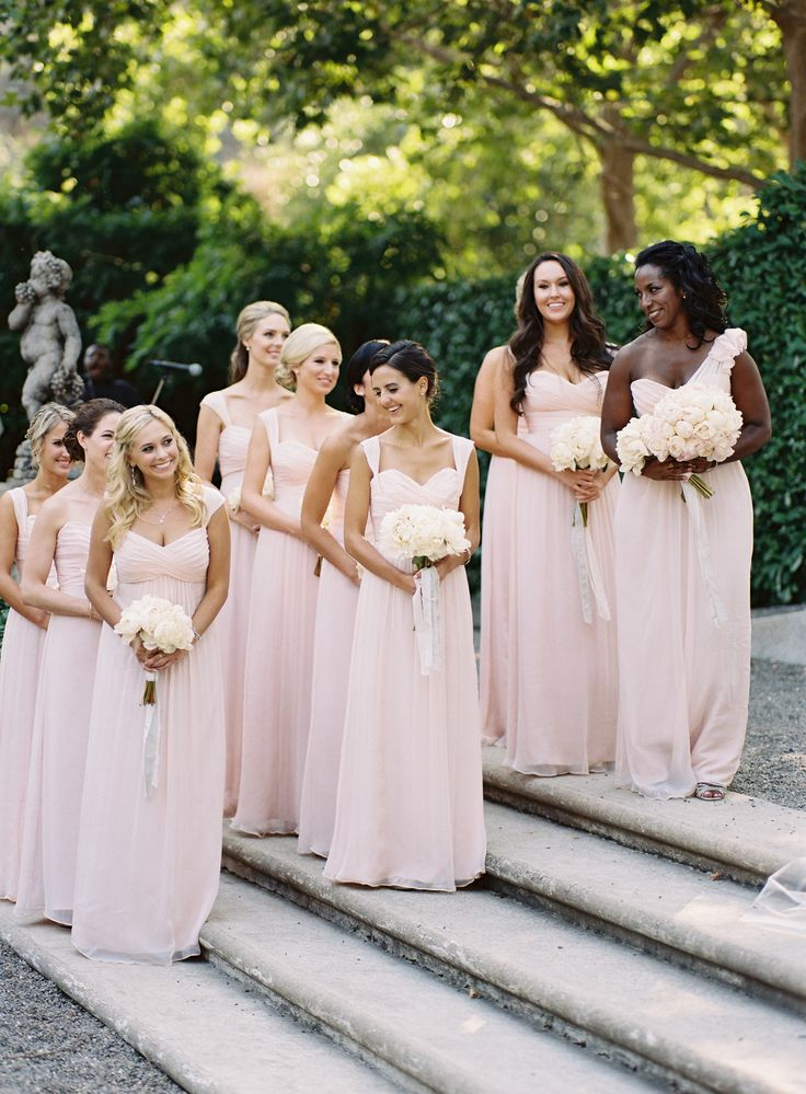Pink maids dresses by J. Crew + Jenny Yoo. Photography: Tec Petaja - www.tecpetaja.com  Read More: http://www.stylemepretty.com/2015/04/09/napa-valley-beaulieu-garden-wedding/