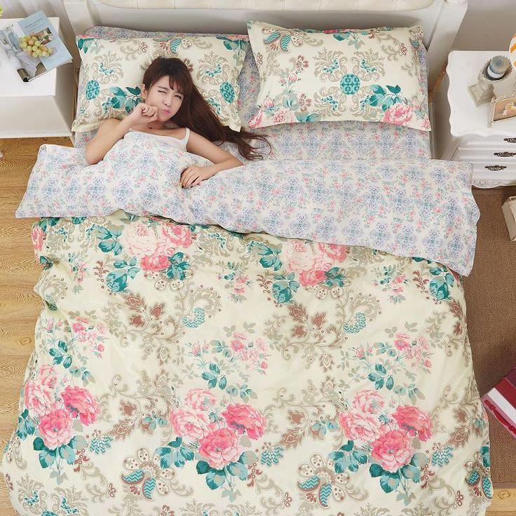 Bedding set 5 size Green Spirit bedding set duvet cover set Korean bed sheet + duvet cover + pillowcase pink bed cover bed linen