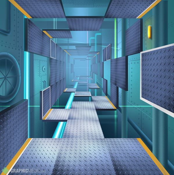 Sci fi corridor illustration