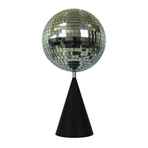 The fortune table top hanging mirror ball kit is a battery powered disco ball that rotates atop a cone shaped stand and can be placed on a table or hung