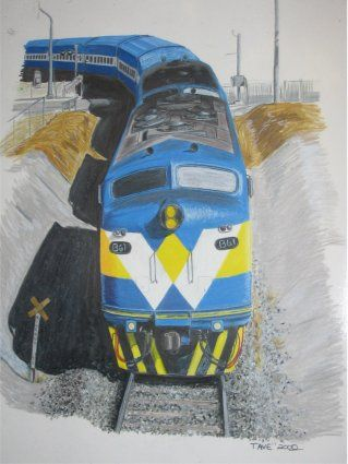 West Coast Rail on the up pass into Geelong Tunnel  Done in colour pencil