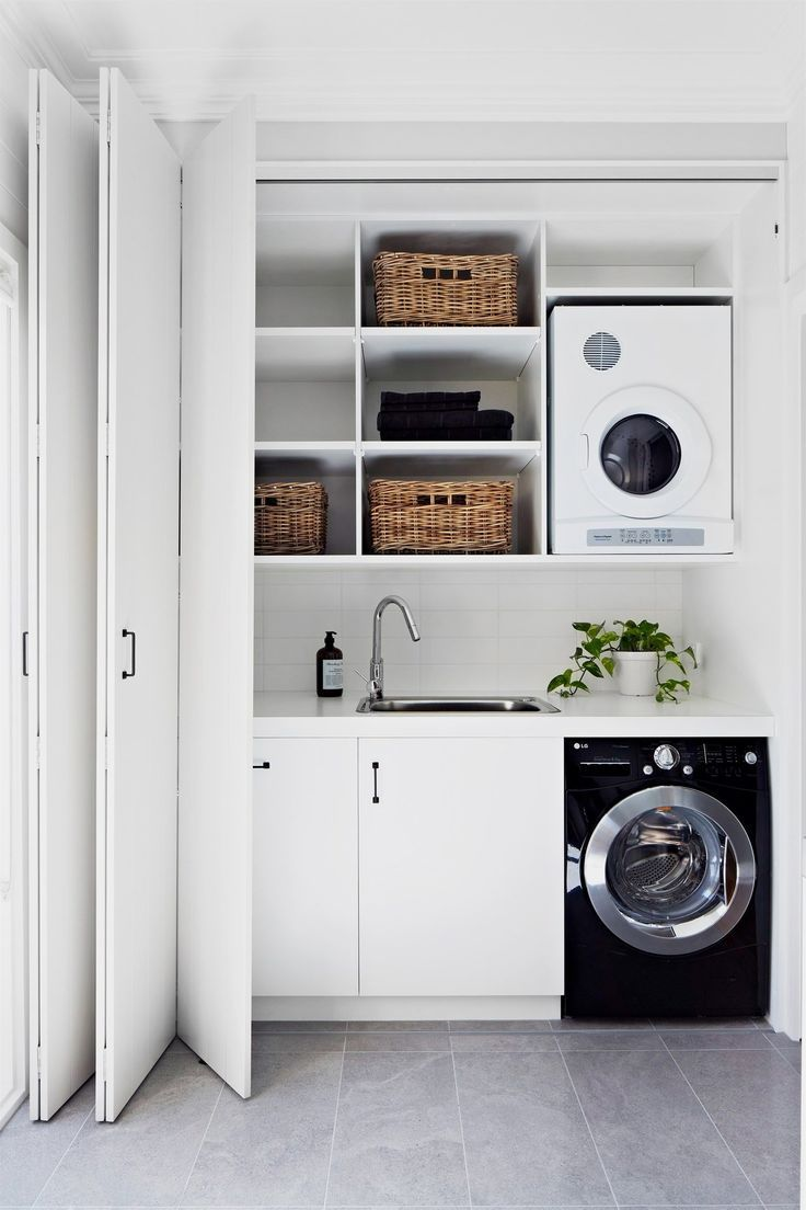 Waschmaschine Trockner Schrank Smart Design Ideas To Steal For Small Laundry Rooms Ordnung