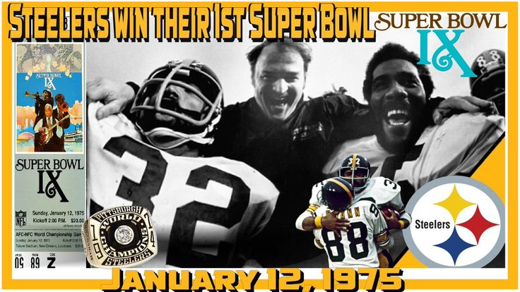 This Day: January 12 1975 Your Pittsburgh Steelers win their 1st Super Bowl  Super Bowl IX: Steelers 16 Vikings 6 #HereWeGo  #SteelersNation