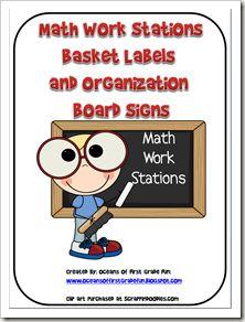 Math Workstation Labels: Stations Ideas, Teaching Ideas, Math Ideas, Free Printable