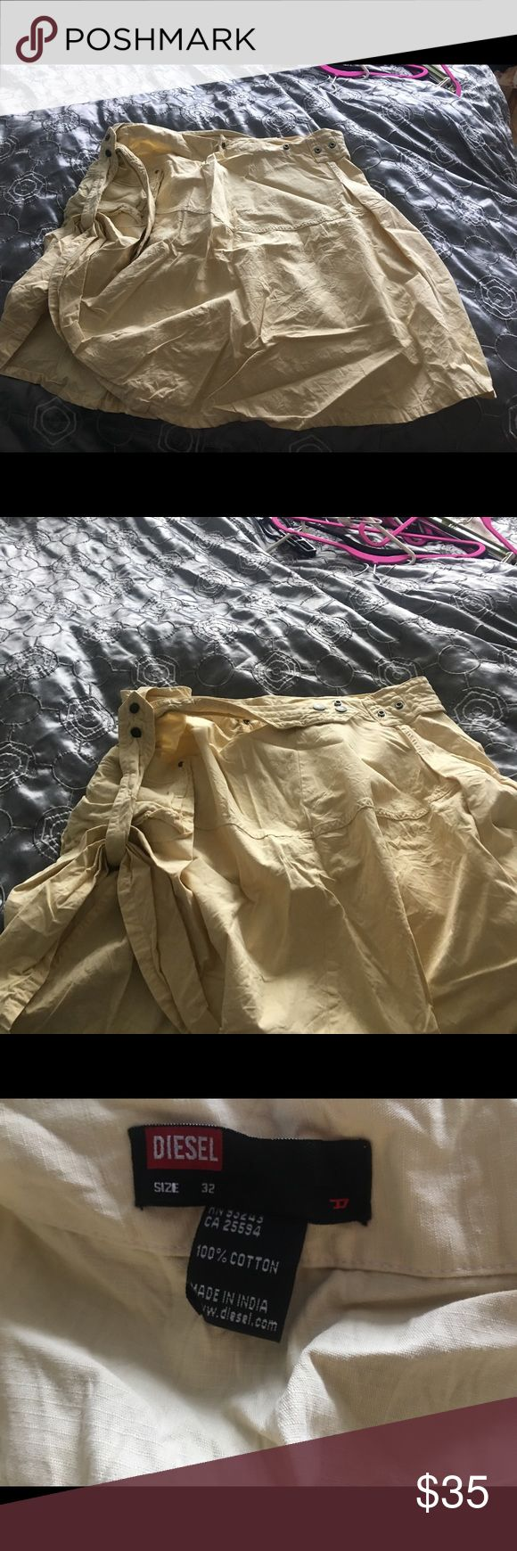 Diesel Skirt pale yellow size 32 medium large Super cute diesel skirt!  Pale yellow.  Cotton. Bought it in Italy.  Never worn.  Goes to knees.  Cute rushing in side.  Size 32 Italian.  I would say it is a medium to large.  Adorable!! Diesel Skirts Midi