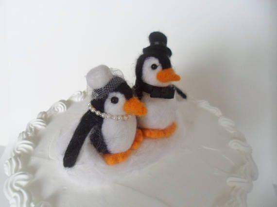 Penguin Wedding Cake Topper Needle Felted