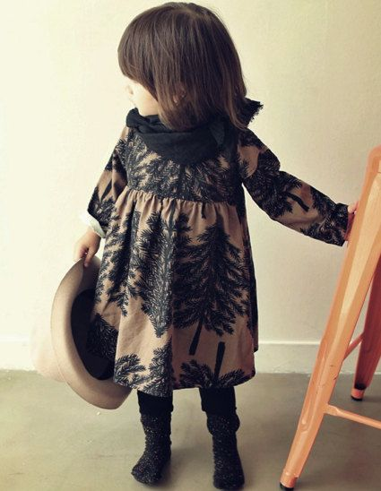 Girls flower patterned dress for  Everyday! black flower cotton dress for Autumn, winter 24M~8Years old Made to order