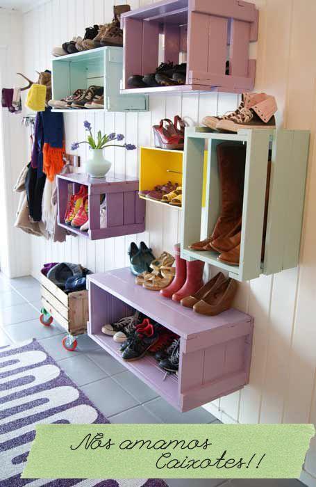 Caixotes de feira ajudam a organizar os sapatos