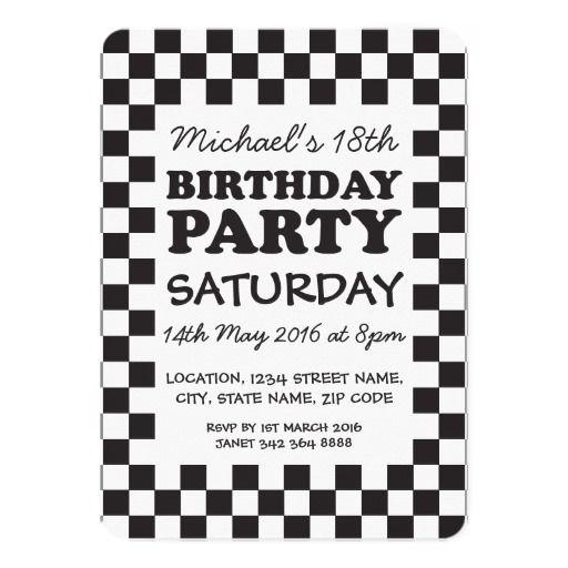 61 best birthday invitations images on pinterest birthday birthday black white chequerboard party 13cm x 18cm invitation card stopboris Gallery