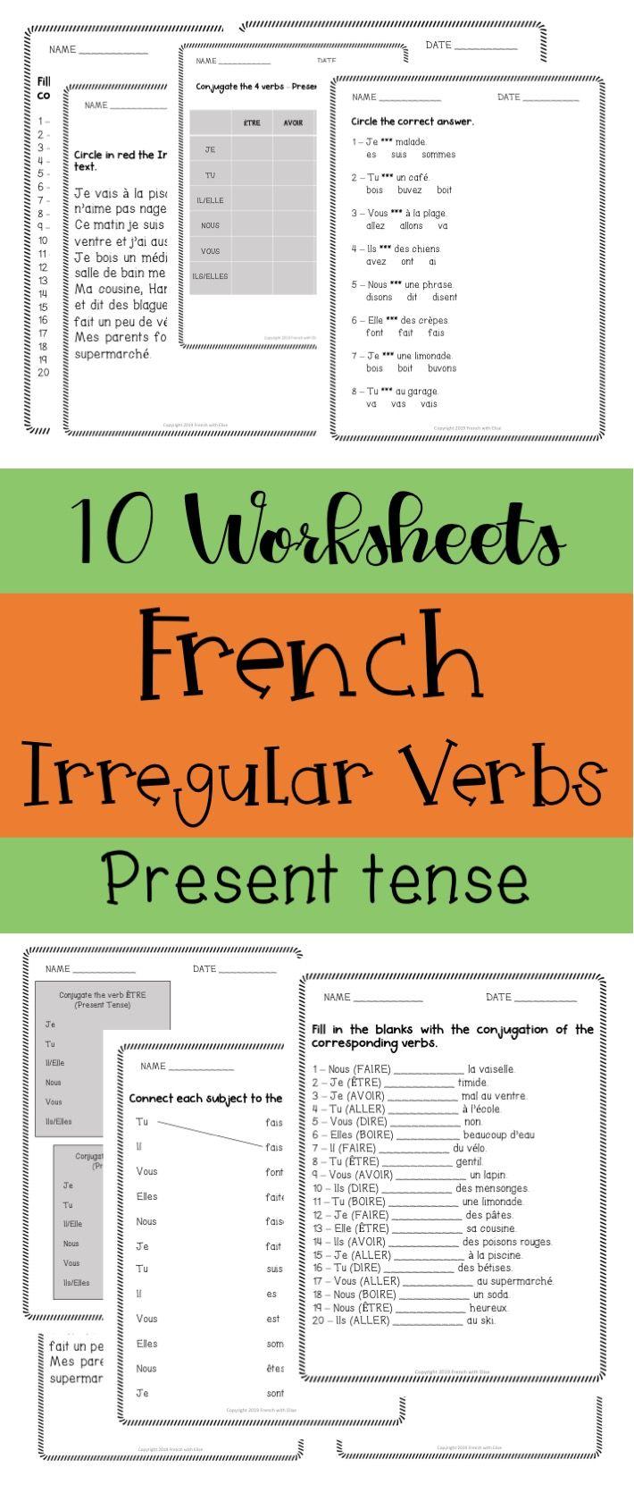 10 Worksheets French Irregular Verbs Present Tense Irregular Verbs Verb Worksheets Verb [ 1670 x 710 Pixel ]