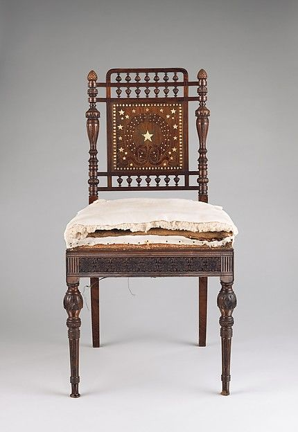 Side chair for the Library of the William H. Vanderbilt House Maker: Herter Brothers (1864–1906) Date: 1881–82 Geography: Mid-Atlantic, New York, New York, United States Culture: American Medium: rosewood, inlaid with brass and mother-of-pearl