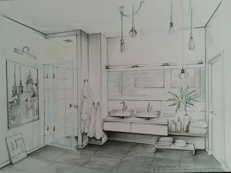bathroom illustration by magdalena sobula pe2 interior design sketches perspectivecolor