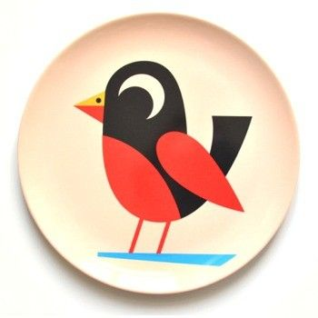 Simplicity is the key - a beautiful melamine plate with a lovely bird.