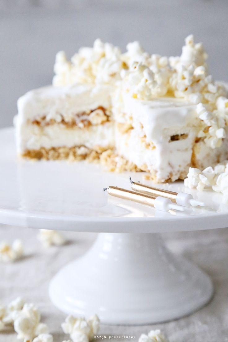 popcorn ice cream cake with salted caramel