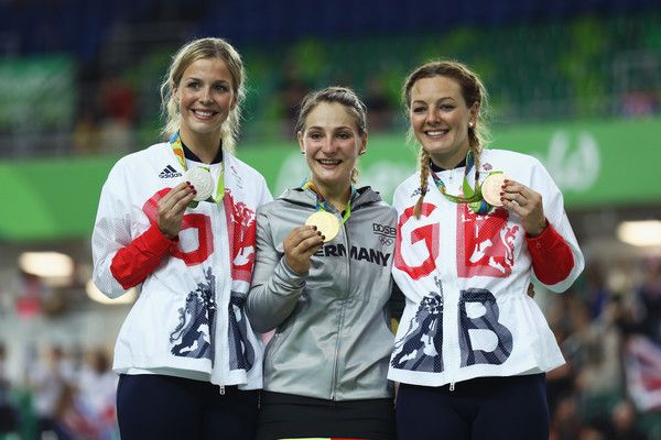 Silver medalist Rebecca James of Great Britain, gold medalist Kristina Vogel of Germany and bronze medalist Katy Marchant of Great Britain celebrate during the medal ceremony after the Women's Sprint Finals race on Day 11 of the Rio 2016 Olympic Games at the Rio Olympic Velodrome on August 16, 2016 in Rio de Janeiro, Brazil.