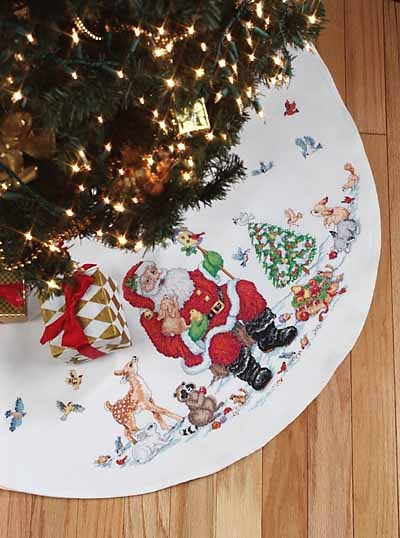 Santa and Animals Tree Skirt - Cross Stitch Kit
