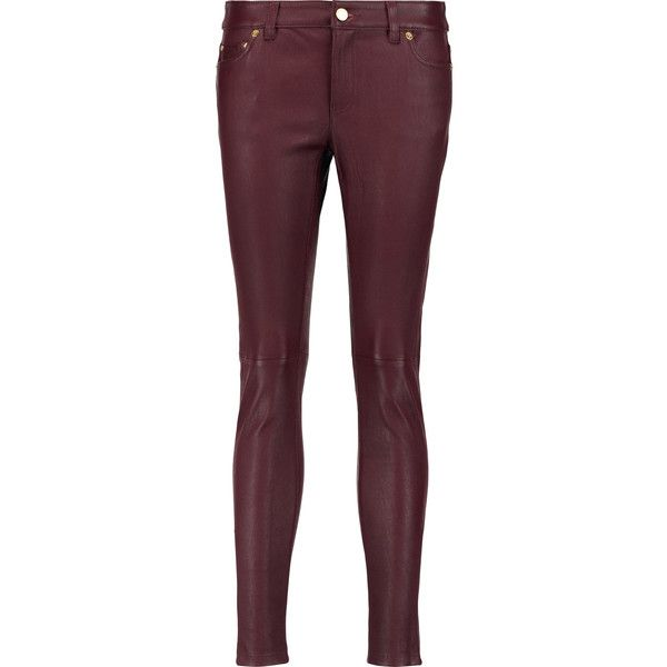 MICHAEL Michael Kors Leather skinny pants ($325) ❤ liked on Polyvore featuring pants, merlot, low rise skinny pants, leather trousers, low rise pants, purple skinny pants and purple leather pants