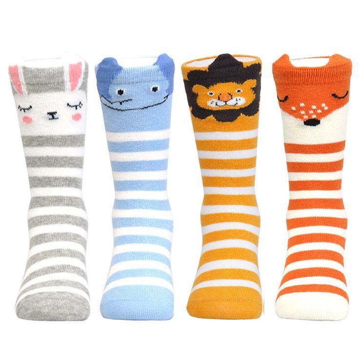 Epeius 4 Pair Pack Infants Baby Girls/Boys Cartoon Animal Rabbit/Fox/Lion/Elephant Knee-High Socks for 6-18 Months,Grey/Blue/Yellow/Orange