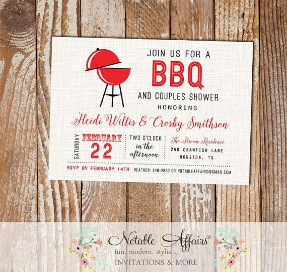 Horizontal BBQ Barbecue Invitation On Light Brown Linen Background