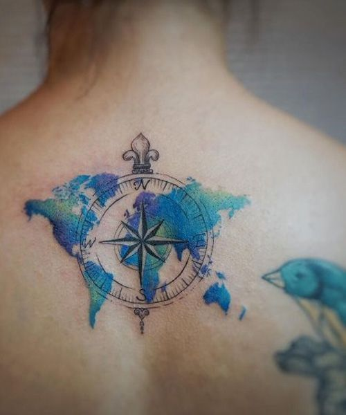 Most Insane Travel Tattoo Design on the Back for Women