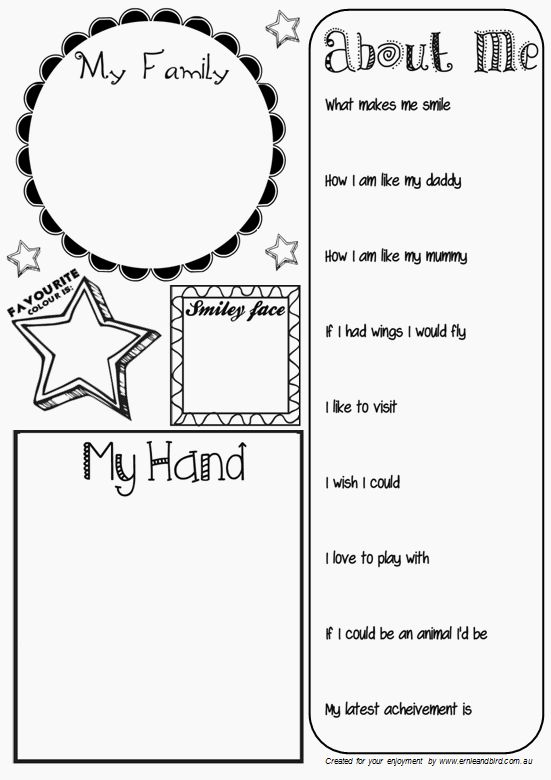 All About Me Activity Sheet (Pg. 2/2) by Ernie & Bird. Great for Kindergarten, Pre-School, and Prep